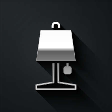 Silver Table lamp icon isolated on black background. Long shadow style. Vector