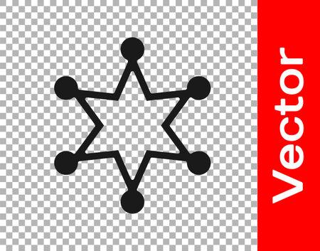 Black Hexagram sheriff icon isolated on transparent background. Police badge icon. Vector