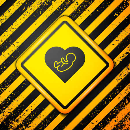 Black Baby inside heart icon isolated on yellow background. Warning sign. Vector Ilustrace