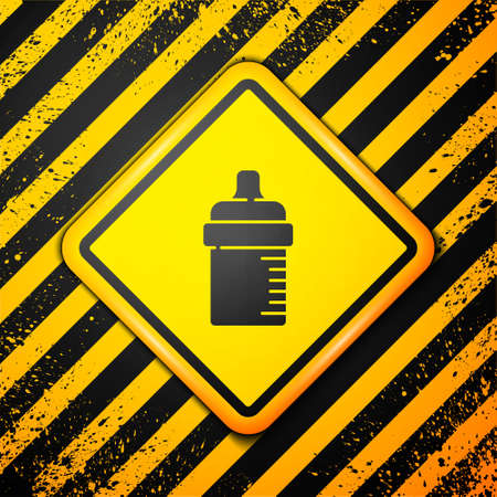 Black Baby bottle icon isolated on yellow background. Feeding bottle icon. Milk bottle sign. Warning sign. Vector