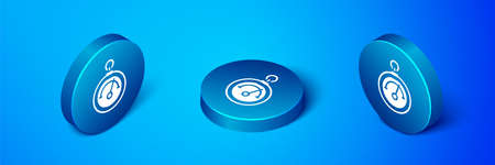 Isometric Barometer icon isolated on blue background. Blue circle button. Vector