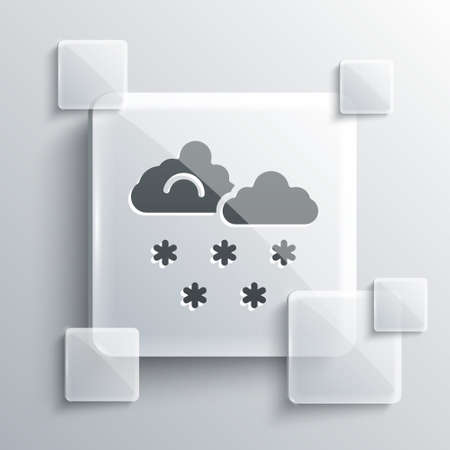 Grey Cloud with snow icon isolated on grey background. Cloud with snowflakes. Single weather icon. Snowing sign. Square glass panels. Vector