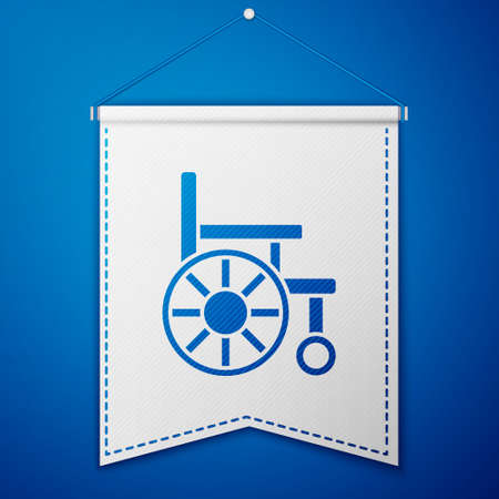 Blue Wheelchair for disabled person icon isolated on blue background. White pennant template. Vector