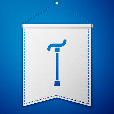 Blue Walking stick cane icon isolated on blue background. White pennant template. Vector