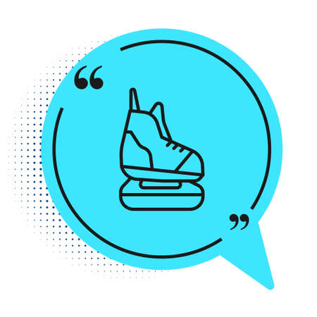 Black line Skates icon isolated on white background. Ice skate shoes icon. Sport boots with blades. Blue speech bubble symbol. Vector Illustration