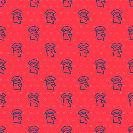 Blue line Greek helmet icon isolated seamless pattern on red background. Antiques helmet for head protection soldiers with a crest of feathers or horsehair. Vector