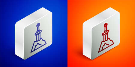 Isometric line Sword in the stone icon isolated on blue and orange background. Excalibur the sword