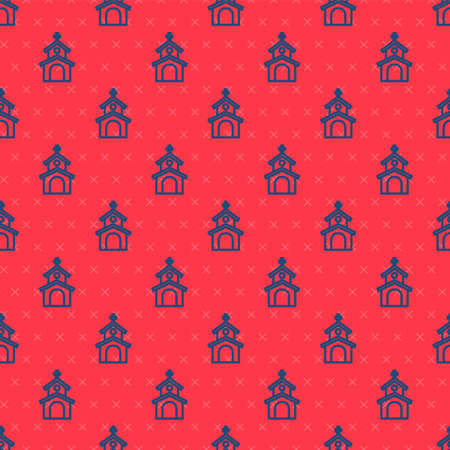Blue line Church building icon isolated seamless pattern on red background. Christian Church. Religion of church. Vector 일러스트