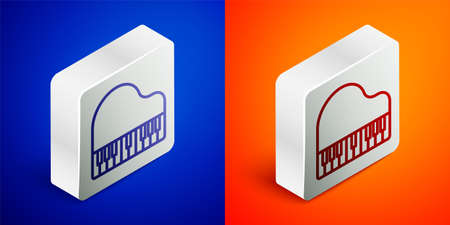 Isometric line Grand piano icon isolated on blue and orange background. Musical instrument. Silver square button. Vector
