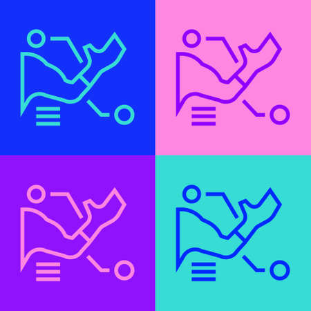 Pop art line Prosthesis hand icon isolated on color background. Futuristic concept of bionic arm, robotic mechanical hand. Vector
