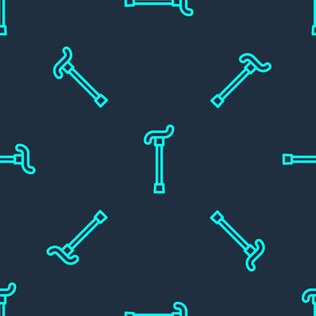 Green line Walking stick cane icon isolated seamless pattern on blue background. Vector 向量圖像