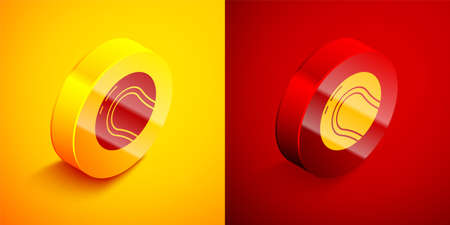 Isometric Baseball ball icon isolated on orange and red background. Circle button. Vector Illustration