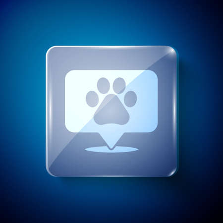White Map pointer with veterinary medicine hospital, clinic or pet shop for animals icon isolated on blue background. Vet or veterinarian clinic. Square glass panels. Vector