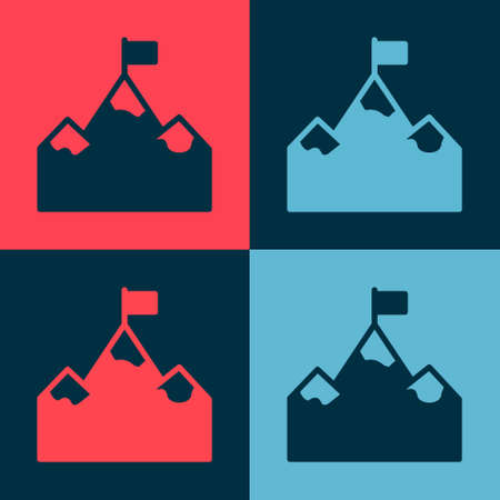 Pop art Mountains with flag on top icon isolated on color background. Symbol of victory or success concept. Goal achievement. Vector