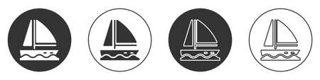 Black Yacht sailboat or sailing ship icon isolated on white background. Sail boat marine cruise travel. Circle button. Vector