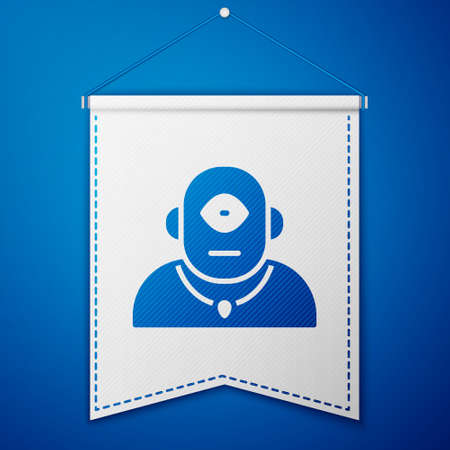 Blue Cyclops icon isolated on blue background. White pennant template. Vector