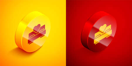 Isometric Bedroom icon isolated on orange and red background. Wedding, love, marriage symbol. Bedroom creative icon from honeymoon collection. Circle button. Vector
