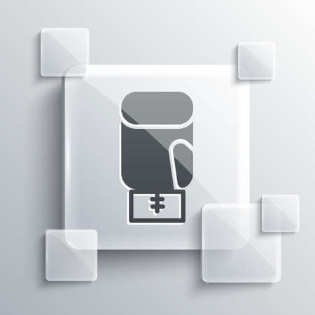 Grey Boxing glove icon isolated on grey background. Square glass panels. Vector Ilustracja
