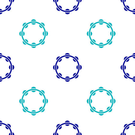 Blue Musical instrument percussion tambourine, with metal plates icon isolated seamless pattern on white background. Vector Illustration