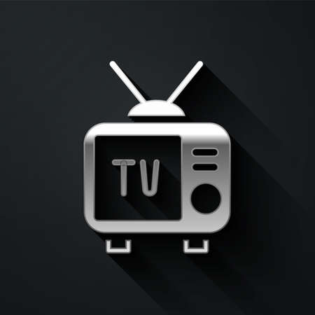 Silver Retro tv icon isolated on black background. Television sign. Long shadow style. Vector