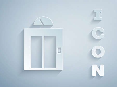 Paper cut Lift icon isolated on grey background. Elevator symbol. Paper art style. Vector