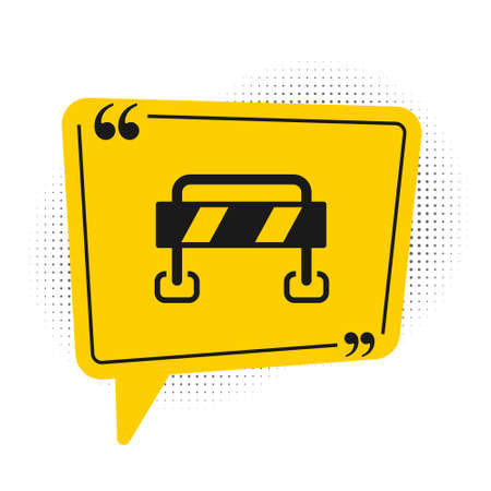 Black Road barrier icon isolated on white background. Symbol of restricted area which are in under construction processes. Repair works. Yellow speech bubble symbol. Vector