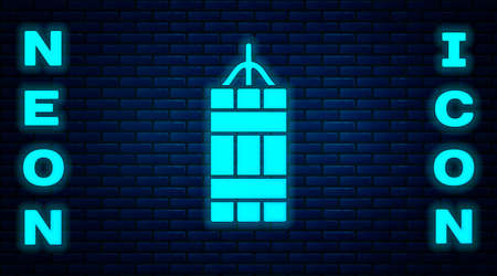 Glowing neon Detonate dynamite bomb stick icon isolated on brick wall background. Time bomb - explosion danger concept. Vector Ilustracja
