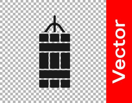 Black Detonate dynamite bomb stick icon isolated on transparent background. Time bomb - explosion danger concept. Vector Ilustracja