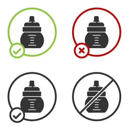 Black Baby bottle icon isolated on white background. Feeding bottle icon. Milk bottle sign. Circle button. Vector