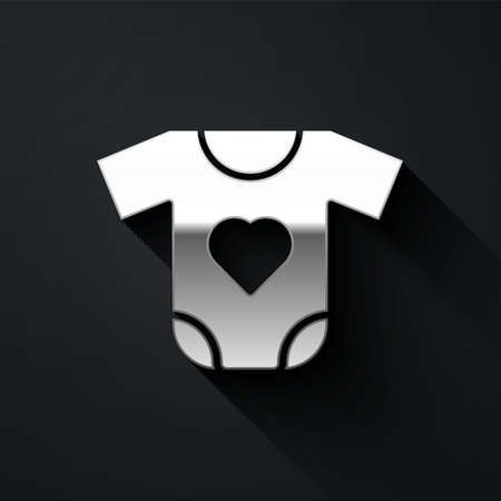 Silver Baby clothes icon isolated on black background. Baby clothing for baby girl and boy. Baby bodysuit. Long shadow style. Vector  イラスト・ベクター素材