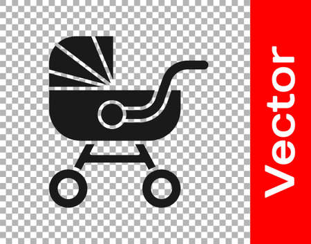 Black Baby stroller icon isolated on transparent background. Baby carriage, buggy, pram, stroller, wheel. Vector