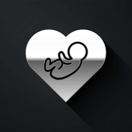 Silver Baby inside heart icon isolated on black background. Long shadow style. Vector  イラスト・ベクター素材