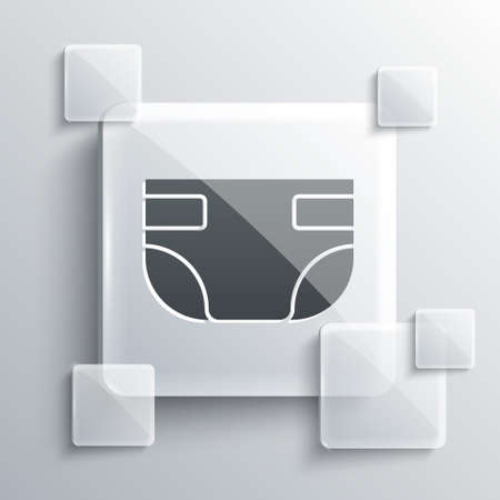 Grey Baby absorbent diaper icon isolated on grey background. Square glass panels. Vector