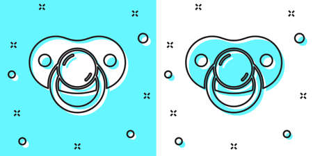 Black line Baby dummy pacifier icon isolated on green and white background. Toy of a child. Random dynamic shapes. Vector  イラスト・ベクター素材