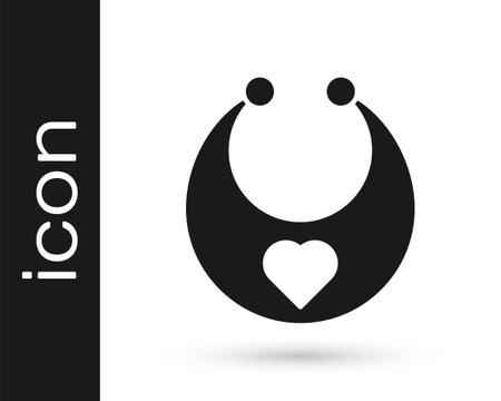 Black Baby bib icon isolated on white background. Vector