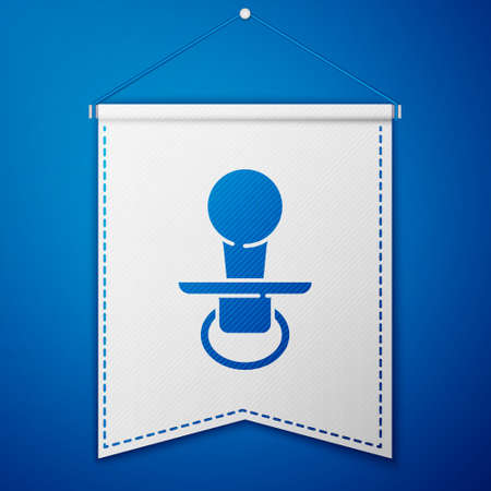 Blue Baby dummy pacifier icon isolated on blue background. Toy of a child. White pennant template. Vector