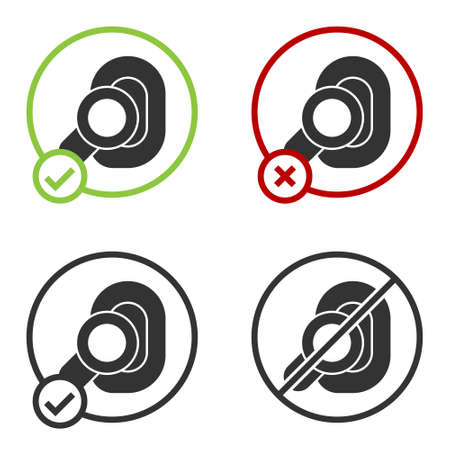 Black Hearing aid icon isolated on white background. Hearing and ear. Circle button. Vector