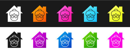 Set Nursing home building icon isolated on black and white background. Health care for old and sick people. Center for retired people. Vector 向量圖像