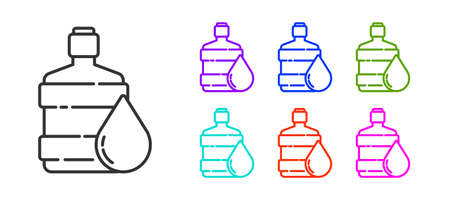 Black line Big bottle with clean water icon isolated on white background. Plastic container for the cooler. Set icons colorful. Vector Illustration