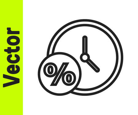 Black line Clock and percent icon isolated on white background. Vector Illustration