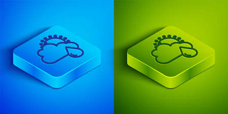 Isometric line Cloud with rain and sun icon isolated on blue and green background. Rain cloud precipitation with rain drops. Square button. Vector