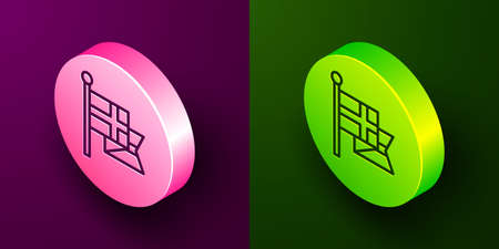 Isometric line Flag of England on flagpole icon isolated on purple and green background. Circle button. Vector