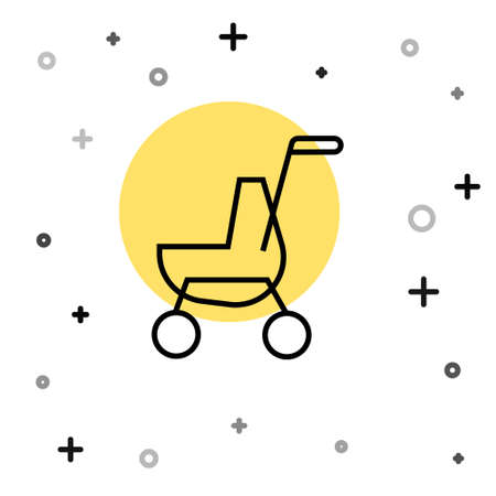 Black line Baby stroller icon isolated on white background. Baby carriage, buggy, pram, stroller, wheel. Random dynamic shapes. Vector
