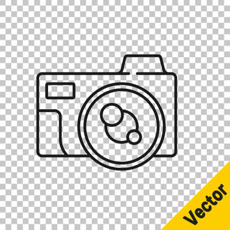 Black line Photo camera icon isolated on transparent background. Foto camera icon. Vector