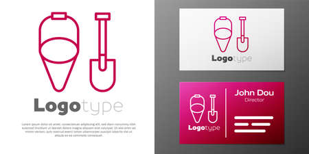 Logotype line Fire shovel and cone bucket icon isolated on white background. Logo design template element. Vector