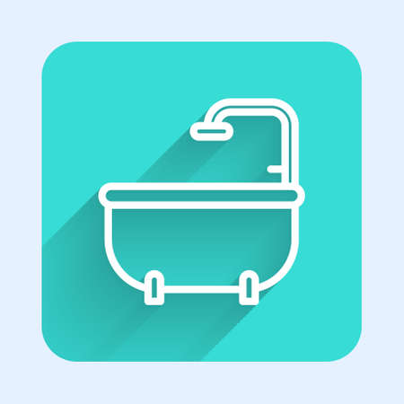 White line Bathtub icon isolated with long shadow. Green square button. Vector