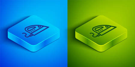 Isometric line Electric iron icon isolated on blue and green background. Steam iron. Square button. Vector 일러스트