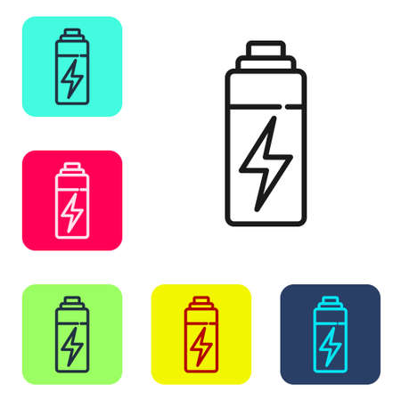 Black line Battery icon isolated on white background. Lightning bolt symbol. Set icons in color square buttons. Vector