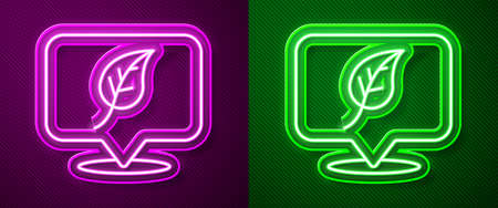 Glowing neon line Location with leaf icon isolated on purple and green background. Eco energy concept. Alternative energy concept. Vector