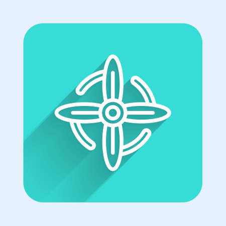 White line Wind turbine icon isolated with long shadow. Wind generator sign. Windmill for electric power production. Green square button. Vector